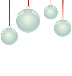 NewYear balls with snowflakes and ribbon hanging vector image