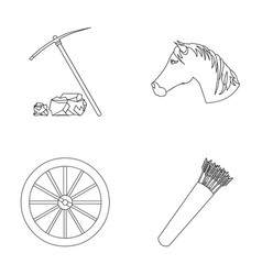 Pickax hoe horse head wheel cart quiver with vector