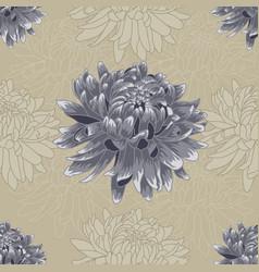 Seamless blue chrysanthemum pattern vector