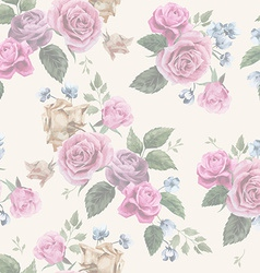 Seamless floral pattern with pink roses on light vector image vector image