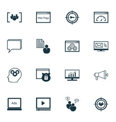 Set of 16 seo icons includes security digital vector