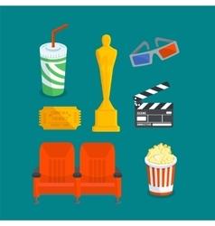 Set of various cinema intertainment things vector