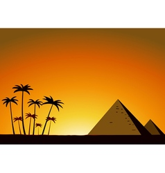 Summer sunset with pyramids vector