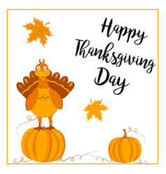 thanksgiving postcard with turkey and pumpkins vector image