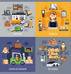 warehouse flat concept vector image vector image