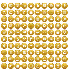 100 business people icons set gold vector