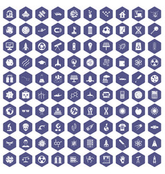 100 space technology icons hexagon purple vector
