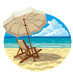 Chair and umbrella on beach vector