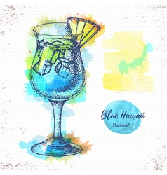 Watercolor cocktail blue hawaii sketch vector