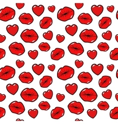 Lips Kiss Love and Heart Seamless Pattern vector image