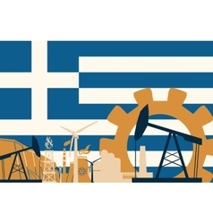 Energy and power icons set with greece flag vector