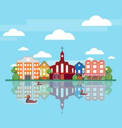 Flat spring city landscape concept vector