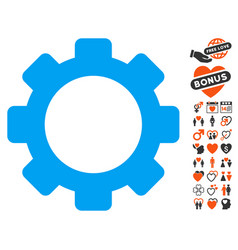 Gear icon with dating bonus vector