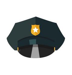 Police cap with golden token realistic vector
