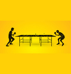 men play table tennis  ping pong 2 player vector image