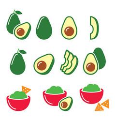 Avocado cut in half fruit guacamole with nachos vector
