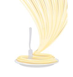pasta on plate isolated spaghetti on dish on vector image