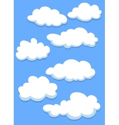 Cartoon white clouds on sky vector