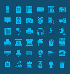 Household solid web icons vector