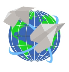 Paper airplanes fly around the planet earth vector