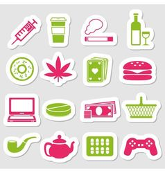 Addiction stickers vector