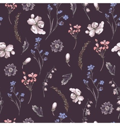 Vintage Seamless Background with Wildflowers vector image