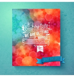 Dynamic vibrant save the date wedding invitation vector