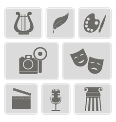Monochrome icons with symbols of art vector