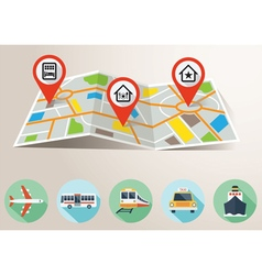 Travel map with gps pin mark and transportation fl vector