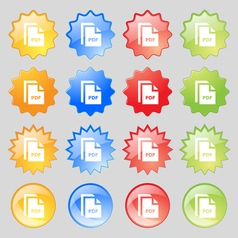 File pdf icon sign big set of 16 colorful modern vector