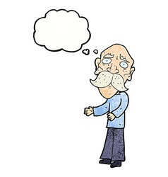 Cartoon lonely old man with thought bubble vector