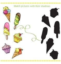 Colorful tasty cartoon ice cream - match the vector
