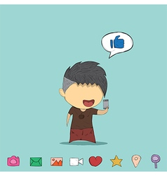 Male teens playing with phone icon vector