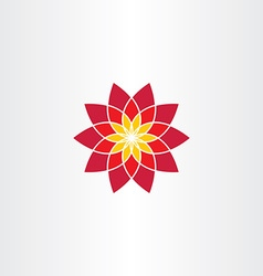 Geometric red flower icon sign vector