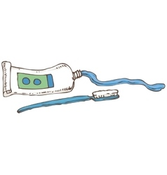 Blue toothbrush and tube with toothpaste vector