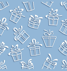 Seamless pattern gift boxes with a shadow vector