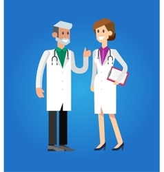 Doctor character man and woman set vector