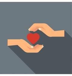 Hands holding heart icon flat style vector