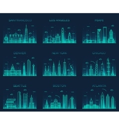 American cities skyline trendy linear vector image