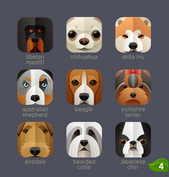Animal faces for app icons-dogs set 3 vector