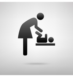 Baby changing woman and baby black icon vector image