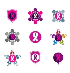 Breast cancer awareness idea of a group of vector image