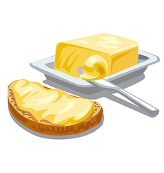 butter with bread vector image