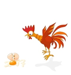 cartoon rooster in shock vector image