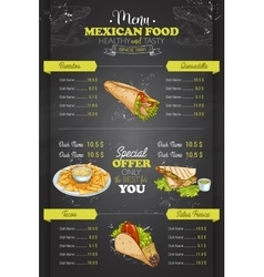 Drawing vertical color mexican food menu vector