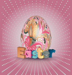 Easter poster egg on pink pattern eggs with vector
