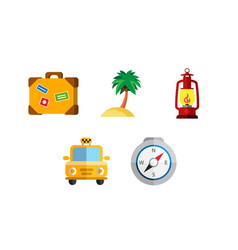 Flat icons set traveling on airplane planning a vector