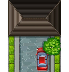 Garage rooftop and red car vector