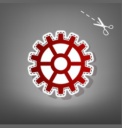 Gear sign red icon with for applique from vector