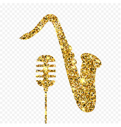 Gold glitter old microphone and saxophone vector
